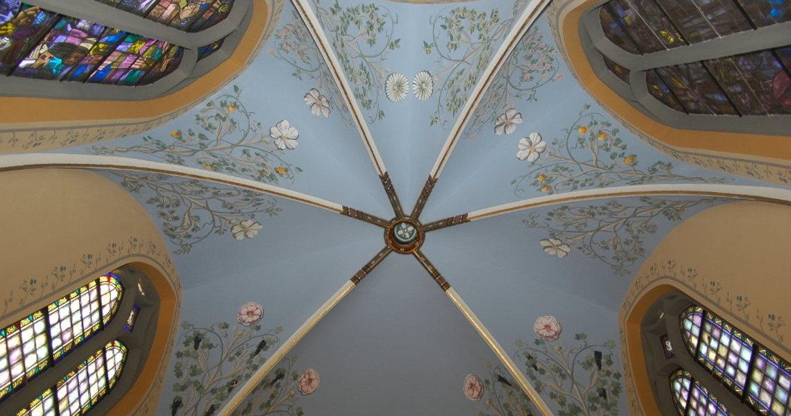 art decor kunst decoratie gewelfschildering nieuwe polychromie st clemenskerk steenwijk