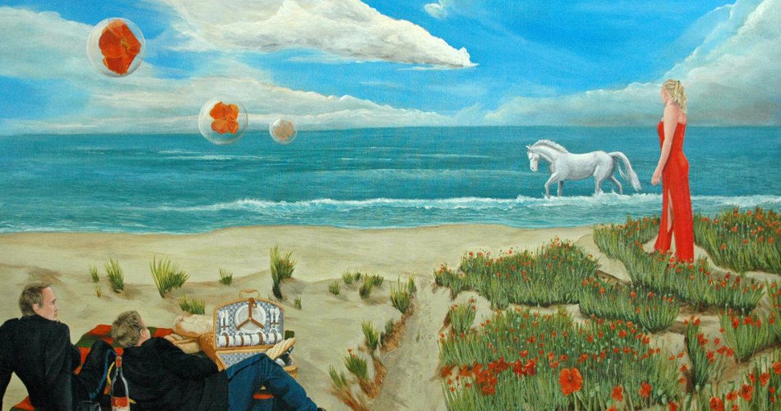 art decor kunstschilderen schilderij picknic op strand