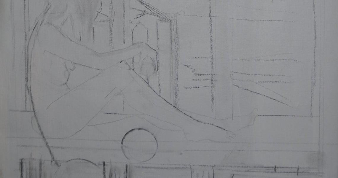 randolph algera schetsen naakte vrouw op balkon